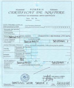 certificat romanesc