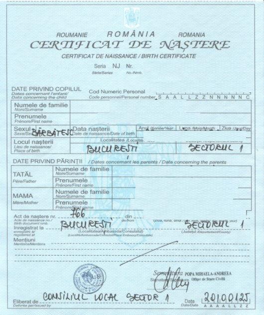 Transcrierea certificatului de nastere emis in stainatate